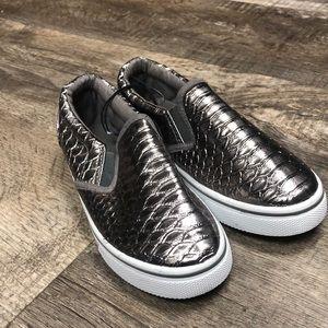 Pink label kids metallic snakeskin slip on shoes